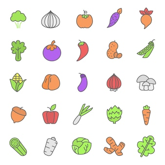 Set of fruits and vegetable plant icon