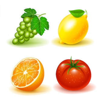 Set of fruits and vegetables: grapes, lemon, orange and tomato. isolated