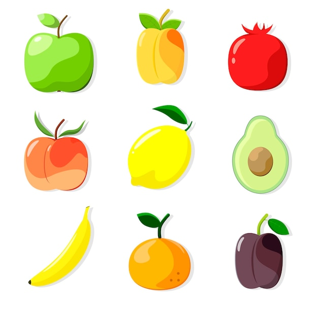 A set of fruits on a white background