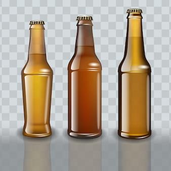 Set of full beer bottles on transparent background.