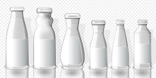 Set of full juice bottles mockup