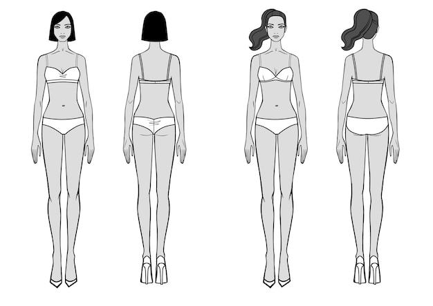 수영복에 서 있는 여자의 전체 길이 전면 후면 보기 설정