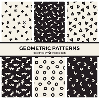 Set of fun black and white geometric patterns