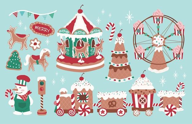 Set of fun christmas theme park gingerbread train carousel and ferris wheel