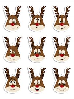 Set of fun and emotional christmas deers