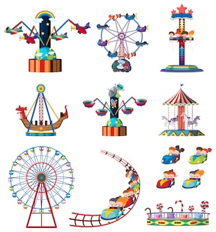 A set of fun fair rides
