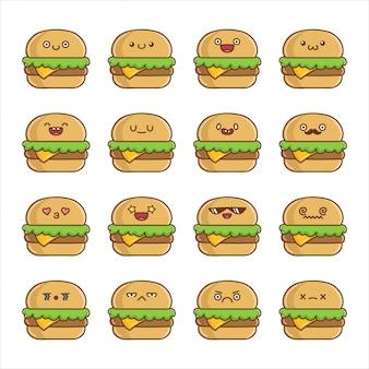 Set of fun kawaii cheese hamburger  cartoons