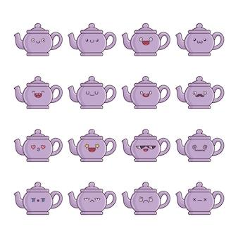 Set of fun kawaii kettle teapot  cartoons