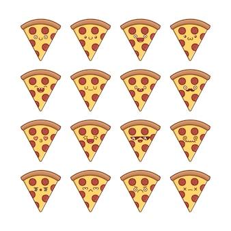 Set of fun kawaii pepperoni sliced pizza  cartoons