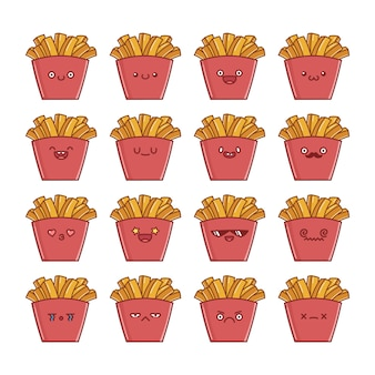 Set of fun kawaii potato french fries  cartoons