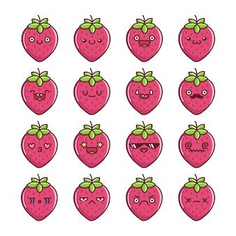 Set of fun kawaii strawberry fruit  cartoons