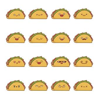 Set of fun kawaii taco  cartoons