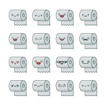 Set of fun kawaii toilet paper roll  cartoons