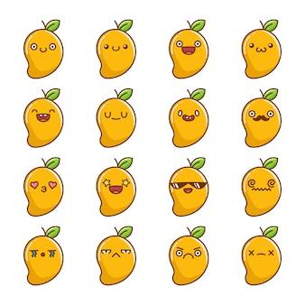 Set of fun kawaii tropical mango fruit  cartoons