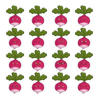 Set of fun kawaii turnip vegetable  cartoons