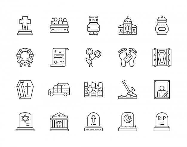 Set of funeral line icons.
