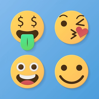 Set of funny 3d paper cut emoticons character yellow color with various facial expression styles