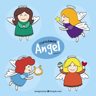 Set of funny angels drawn by hand