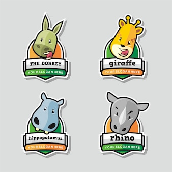 Set of funny animal logo mascot