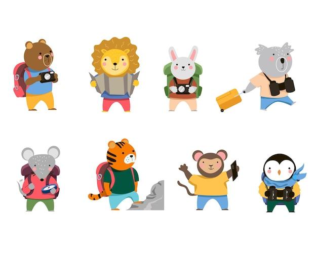 Set of funny animal travelers