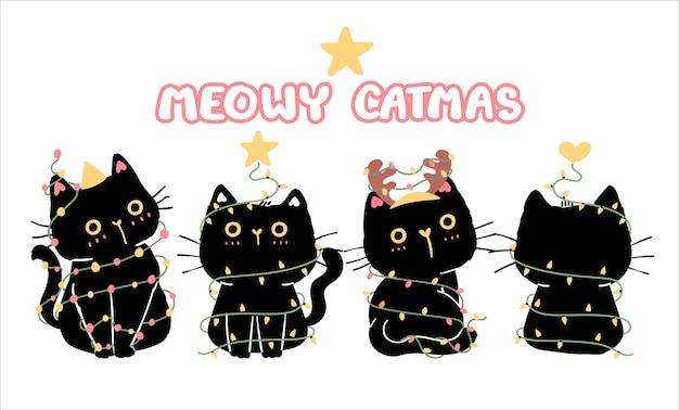 Set of funny black cat merry christmas sitting n tree shape with lights bulb string.kawaii animal kitty kitten. cute cartoon character. isolated flat  illustration