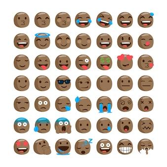 Set of funny black emojis.