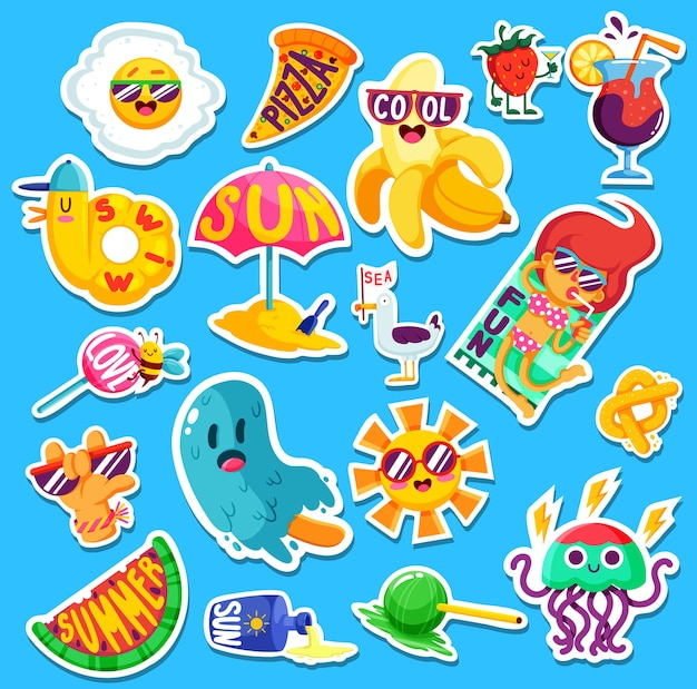 Set of funny bright summer stickers and emblems.