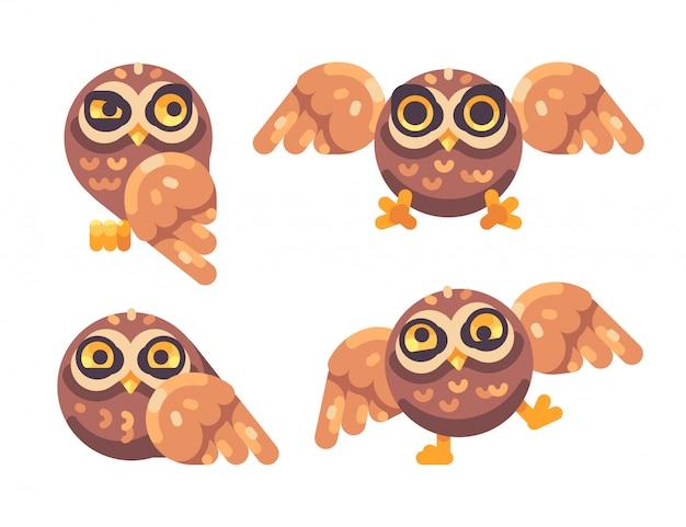 Set of funny brown owls flat illustration