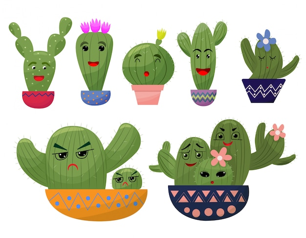 Set funny cactus in cartoon style. cactus in the pot. different emotions.