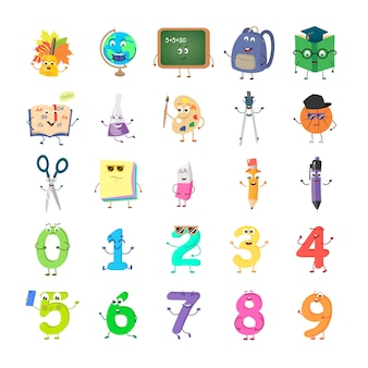 Set of funny cartoon characters on the topic of education. vector flat illustration isolated on white background.