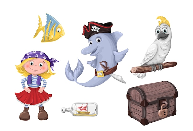 Set of funny cartoon cute children of pirates
