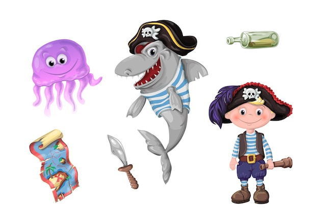 Set of funny cartoon cute children of pirates