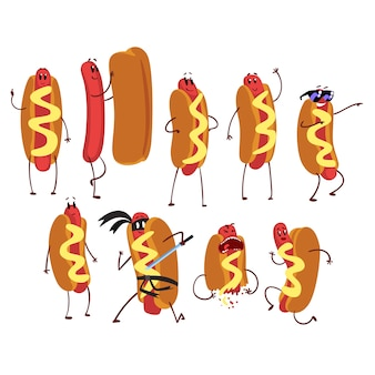 Set of funny cartoon hot dog character in action. self-confident, naked, friendly, running, ninja, cool, frightened. fast food concept.    illustration  on white background.