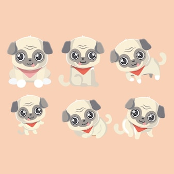 Set of the funny cartoon pugs puppies.