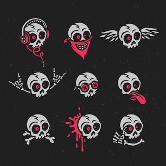 Set of funny cartoon skulls