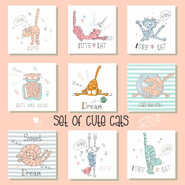 Set of funny cats cards in a cute style.