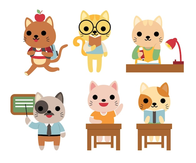 Set of funny cats at school studying, teaching