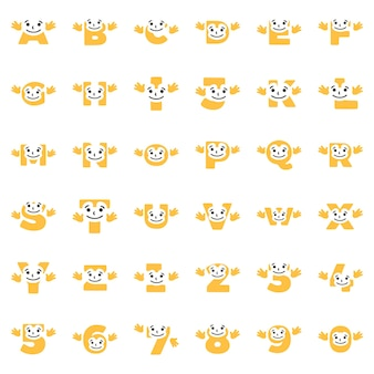A set of funny characters in the form of letters and numbers with hands, vector clip art.