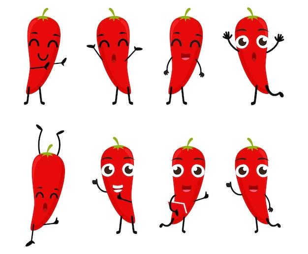 Set of funny chili cartoon character