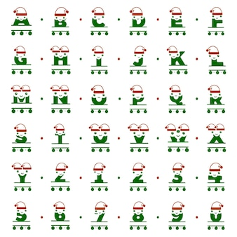 Set of funny christmas characters in the form of letters and numbers personalized monograms