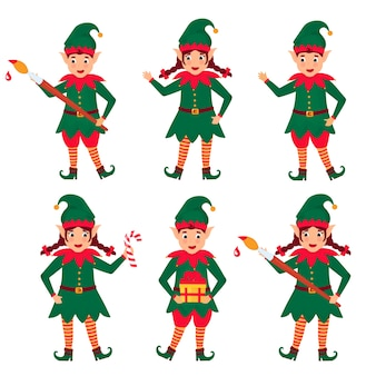 Set of funny christmas elves. cartoon character.