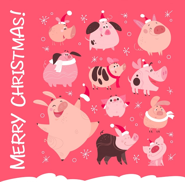 Set of funny christmas flat different pig characters in santa hat isolated on pink snowy background. collection of friendly smiling pink porks. perfect for new year cards, patterns, prints etc.