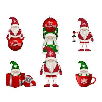 Set of funny christmas gnomes