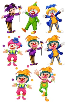 Set of funny clowns in different costumes