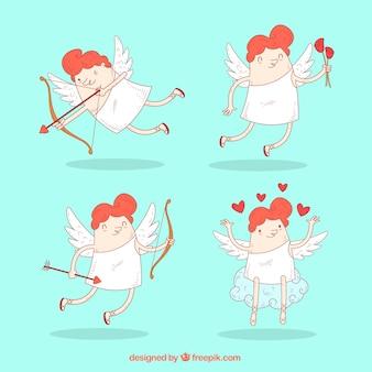 Set of funny cupids