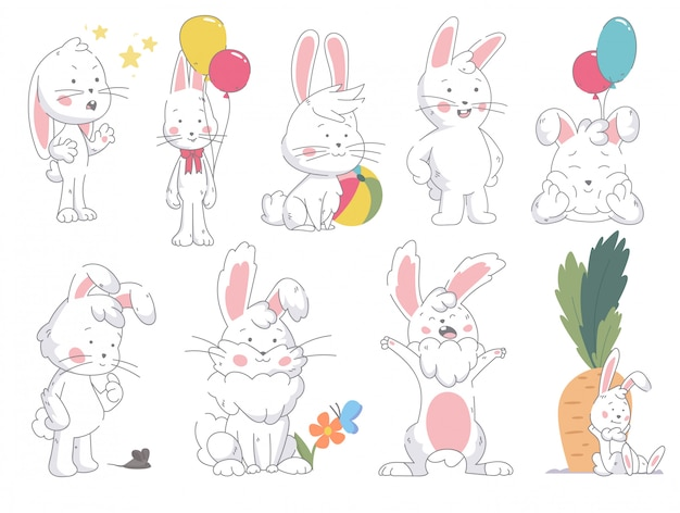 Set of funny cute collor bunny in in different pose isolated on white background. rebbit standing, seated, lies with color balloon, carrot, butterfly, and flowers