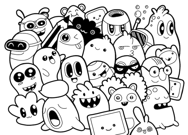 Set of funny cute monsters