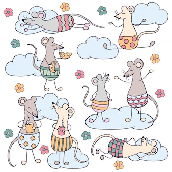 Set of funny cute rats with clouds and flowers