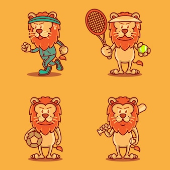 Set of funny cute sporty lions