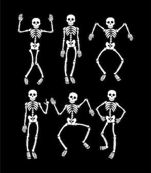 Set of funny dancing skeleton.